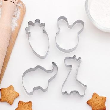 Набор форм для вырезания печеня Доляна Заяц Слон Жираф Морковь 6х7 см. 4 шт.