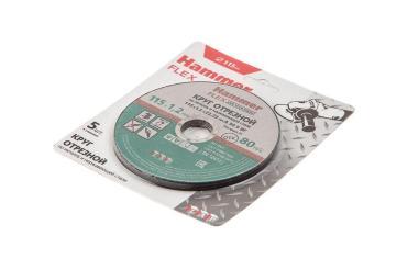 Круг отрезной 115 x 1.2 x 22,23 A 54 S BF SKIN 5 шт по металлу и нержавеющей стали Hammer Flex 232-030, 150 гр., блистер