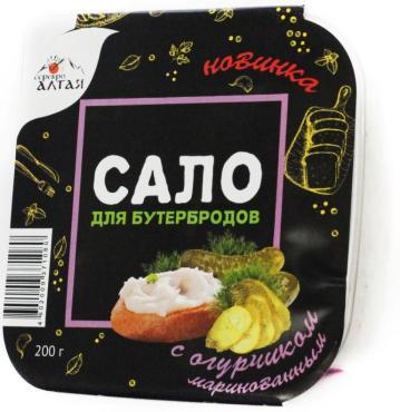 Сало для бутербродов с огурчиком маринованным Браво Серебро Алтая, 200 гр., пластиковая упаковка
