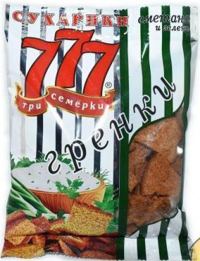 Сухарики ржано-пшеничные со вкусом бекона 777