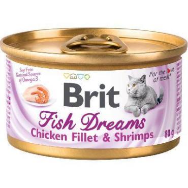 Корм консервы для кошек с куриным филе и креветками Brit Fish Dreams 80 гр., жестяная банка