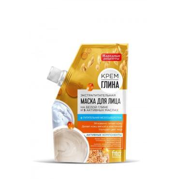 Маска Народные рецепты Крем-глина, экстрапитательная для лица
