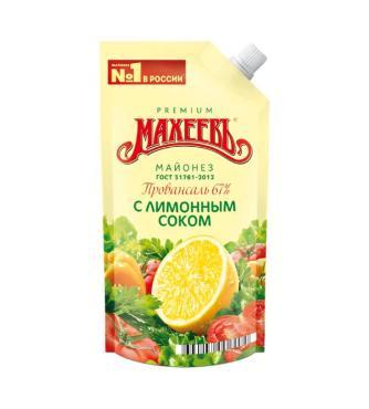Майонез повансаль с лимоным соком Махеевъ, 380 гр., дой-пак с дозатором
