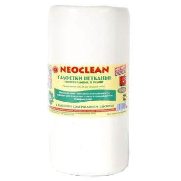 Салфетки нетканые универсальные 50 штук рулон 23х30 сантиметров белые Neoclean, Пластиковая банка