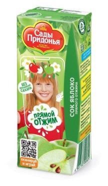 Сок Сады Придонья Яблочный прямого отжима с 4 месяцев