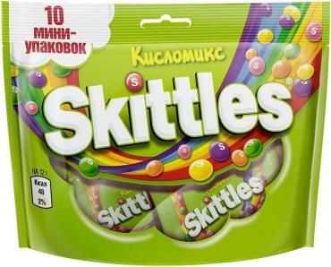 Конфеты Skittles жевательные Кисломикс в сахарной глазури 10шт.