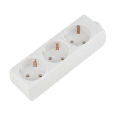 Колодка для удлинителя. 3 гнезда, 10A, 2200Вт. Белый. K-GCP3-10 WHITE Uniel, 90 гр., пластиковый пакет