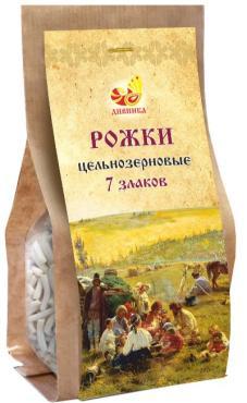Рожки цельнозерновые, Дивинка 7 злаков 200 гр., бумажная упаковка