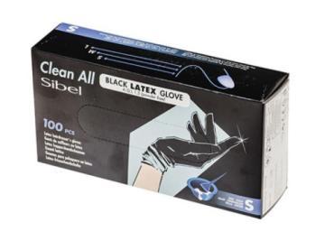 Перчатки  Sibel 093800154-S Latex латекс черные, 100 шт.