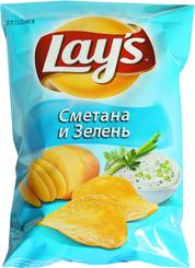 Чипсы Lay's Со вкусом сметаны и зелени