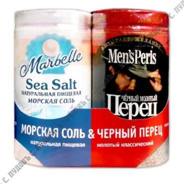 Набор соль морская Marbellе и перец черный Men`s Peris