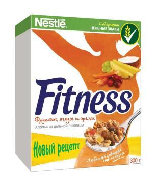 Готовый завтрак Nestle Fitness Хлопья из цельной пшеницы с фруктами ягодами и орехами