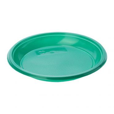Тарелка десертная зеленая 50 штук, 170 мм., Мистерия, пластиковый пакет