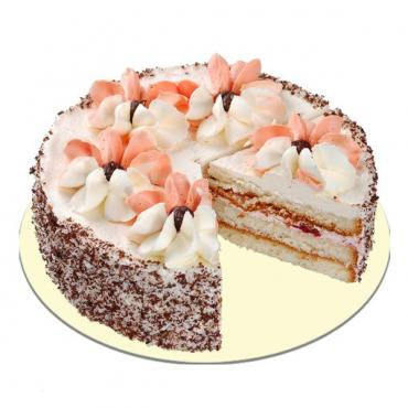 Торт Слоянка Бисквит с темной и белой крошкой и нежным кремом