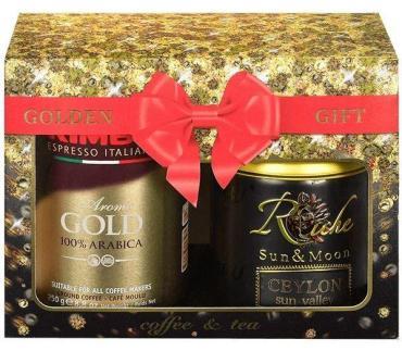Подарочный набор Golden Gift: Кофе Kimbo Gold молотый + Чай Riche Natur Цейлон