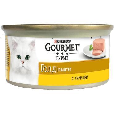 Корм влажный для кошек паштет с курицей Gourmet Gold 85 гр. Жестяная банка