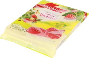 Мармелад Ударница со вкусом малины, флоу-пак 325 гр. (12 шт. в упаковке)