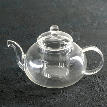 Чайник заварочный Доляна Валенсия 600 мл. со стеклянным ситом