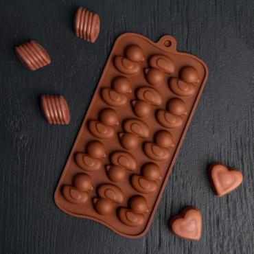 Форма для льда и шоколада Доляна Уточки 21,2×10,4 см. 15 ячеек шоколадный