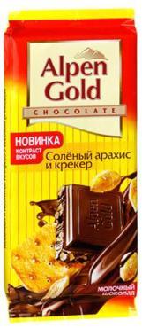 Шоколад ALPEN GOLD Соленый арахис и крекер, молочный шоколад 90г