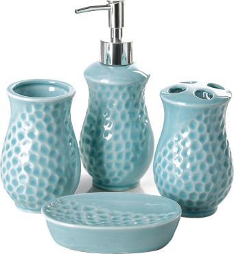 Набор аксессуаров для ванной комнаты Доляна Риф 4 предмета голубой