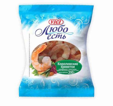 Креветки Vici Любо есть Королевские очищенные с хвостиком 41/50 варено-мороженные