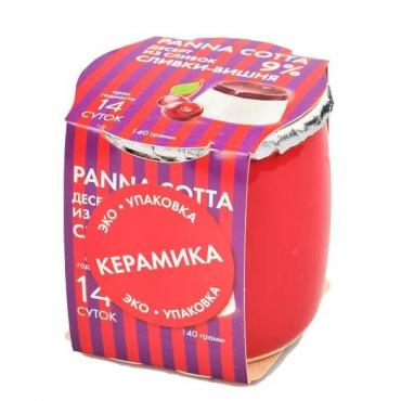 PANNA COTTA десерт из сливок Сливки-вишня, 140 гр., Коломенский
