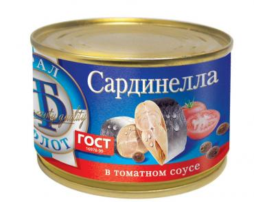 Сардинелла в томатном соусе ТралФлот, 240 гр., ж/б