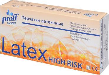 Перчатки Proff Comfort High Risk латексные прочные синие XL