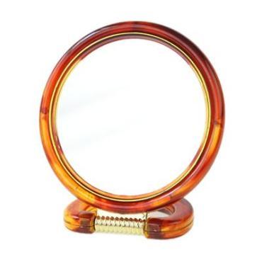 Зеркало настольное круглое, пластик, d14,5см, коричнево-золотое, 417-6