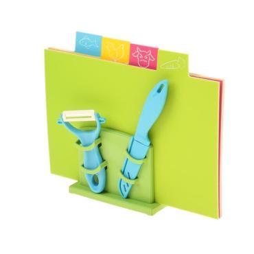 Кухонный набор Доляна 6 предметов доска разделочная прямоугольная 30х19 см. 4 шт. + овощечистка + нож