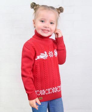Свитер для девочки, 30-116, красный, белый, Golden Kids, Рэбби, Россия, пластиковый пакет