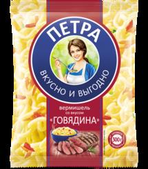 Вермишель быстрого приготовления Петра со вкусом говядины, 50 гр., флоу-пак