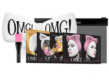 Набор Double Dare Omg! Premium Package Black Spa из 4 Комплексов масок Кисти и Белого банта-повязки