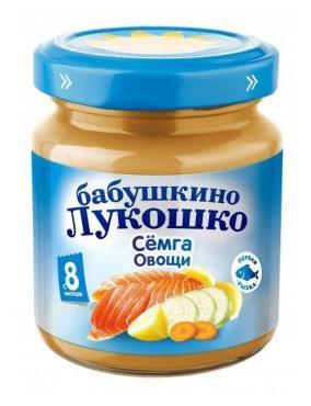 Пюре Бабушкино Лукошко семга с овощами с 8 месяцев