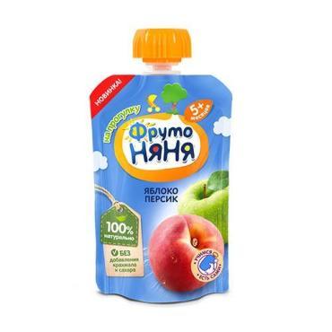 Пюре ФрутоНяня Яблоко и персик с 5 месяцев