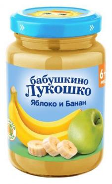 Пюре из яблок и бананов Бабушкино Лукошко, 190 гр., стекло