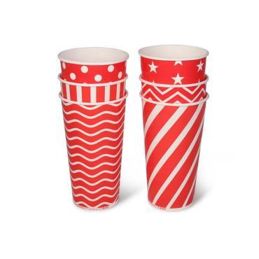 Бумажный стакан, 550 мл (макс. 610 мл), красный с принтом в ассорт.