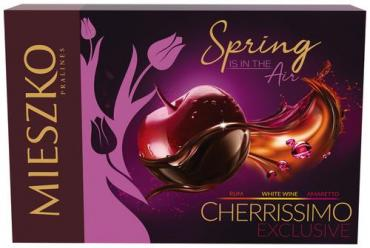 Конфеты шоколадные с вишней в алкоголе Mieszko Cherrissimo Exclusive, 285 гр., подарочная упаковка