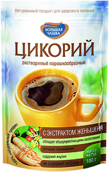 Цикорий натуральный растворимый с экстрактом женьшеня, Большая Чашка, 85 гр., дой-пак