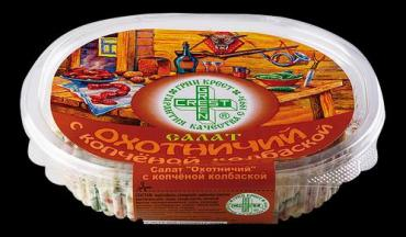 Салат с копченой колбаской Green Сrest Охотничий 300 гр., Пластиковый контейнер