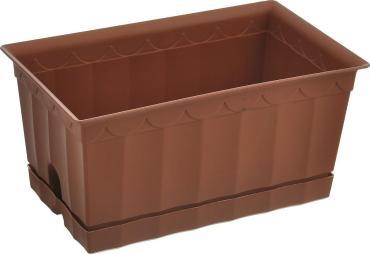 Ящик для цветов Полимербыт С поддоном коричневый 20х12х9,5см.