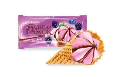 Мороженое Славица Волшебный рожок С ароматом ежевики 10% Вафельный рожок