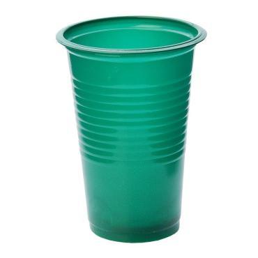 Стакан для холодного и горячего 200 мл., зелёный, ПП 100 шт/уп., 3000 шт/кор., Пласт Индустрия, пластиковый пакет