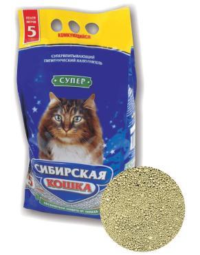 Наполнитель для кошачьего туалета Сибирская кошка Супер комкующийся