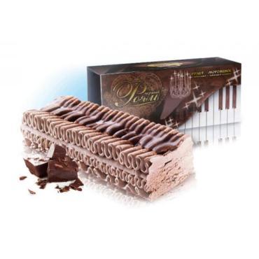 Мороженое Рулет ЧЁРНЫЙ РОЯЛЬ шокол.с прослойками шоколадной глазури, Колибри, 400 гр., картонная коробка