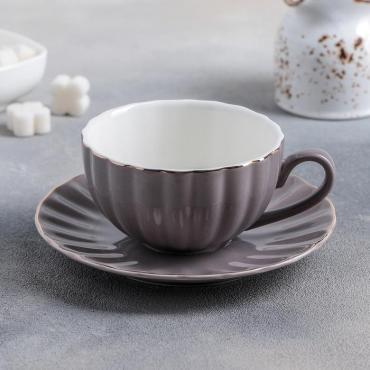 Чайная пара Доляна Вивьен чашка 200 мл., блюдце 15 см. серый