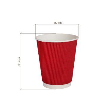 Бумажный стакан, 250 мл (макс. 270 мл), двухсл., гофр., красный