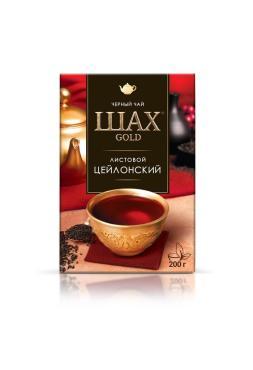 Чай черный листовой цейлонский Шах Gold, 200 гр., Картонная коробка