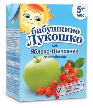 Сок яблоко, шиповник осветлённый с 4 мес., Бабушкино Лукошко, 200 мл., тетра-пак